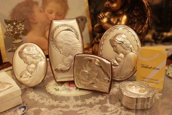 【家與收藏】賠售特價稀有珍藏歐洲古董精品義大利Valenti古典母子手工銀浮雕畫擺飾