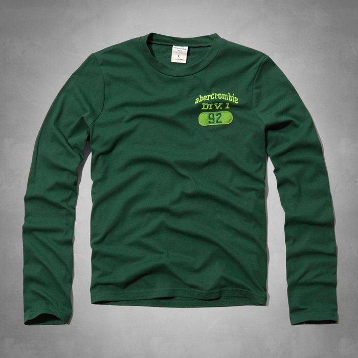 【abercrombie kids】【a&f】【零碼L】af男童款長袖T恤左亮綠字92綠 F06141229-11