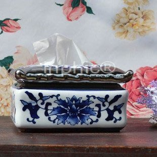 INPHIC-青花陶瓷鍍銀紙巾盒 抽紙盒 餐具盒 紙新古典中式家居擺飾
