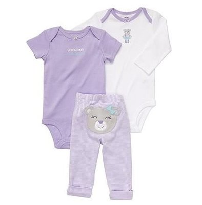 【安琪拉 美國童裝/生活小舖】Carter's 3件式套裝 -長&短袖包屁衣/連身衣+長褲(紫色小熊)