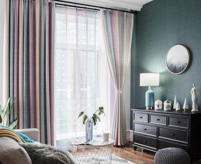 窗簾  客廳窗簾成品現代簡約地中海北歐漸變條紋臥室百搭落地窗簾遮光布  mks