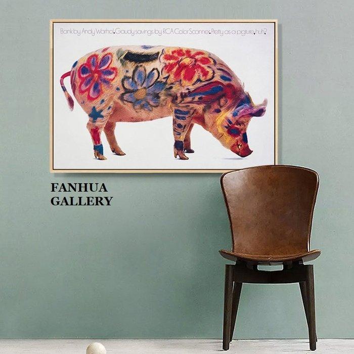 C - R - A - Z - Y - T - O - W - N Andy Warhol安迪沃荷Piggy bank招財豬波普藝術掛畫創意工作室美式空間裝飾畫