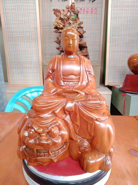 憎型文殊菩薩 台灣黃檜木雕刻 作者:柯金坤