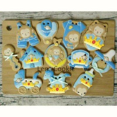 可接急單 收涎餅乾 猴寶寶系列 12片 男寶寶  糖霜餅乾 生日禮物 手工餅乾 不挑款(Lena Cookie)