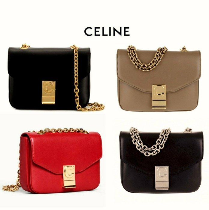 CELINE ► C bag  ( size / 小款 ) 真皮 金屬鍊 信封包型 小肩背包 斜背包 手拿包 |100%全新真品|  特價!