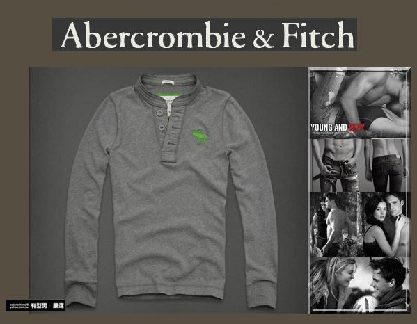 有型男~ A&F Abercrombie&Fitch 2012 聖誕旗艦經典大麋鹿 亨利領 長袖 Giant Mountain grey 現貨 S M L XL