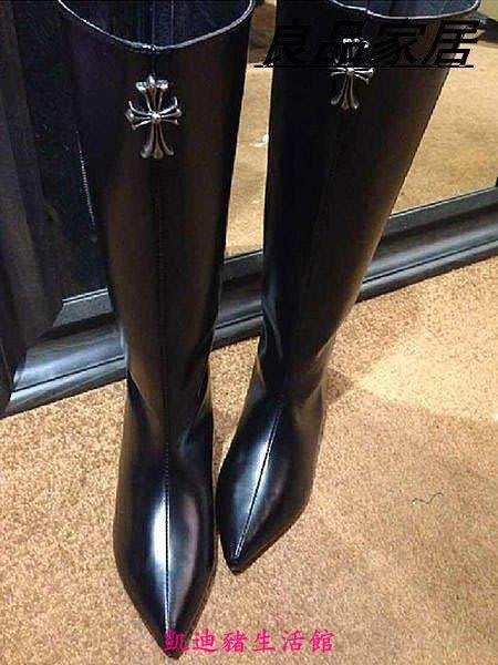 【凱迪豬生活館】J131 尖頭金屬內增高女長靴 大牌後拉鏈潮靴KTZ-200910