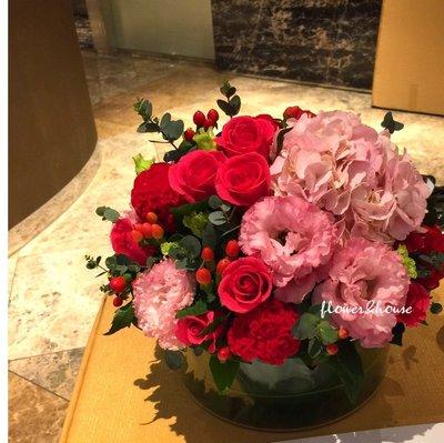 B38。紅粉色系盆花。祝賀開幕生日喬遷。婚禮桌花。相片桌花。台北花店。【Flower&House花藝之家】