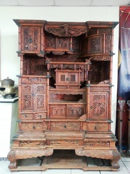 國際二手貨倉庫( 萬物全收)------夢幻珍品   花梨木多寶櫃  酸枝  滿花 古董櫃 藝品櫃