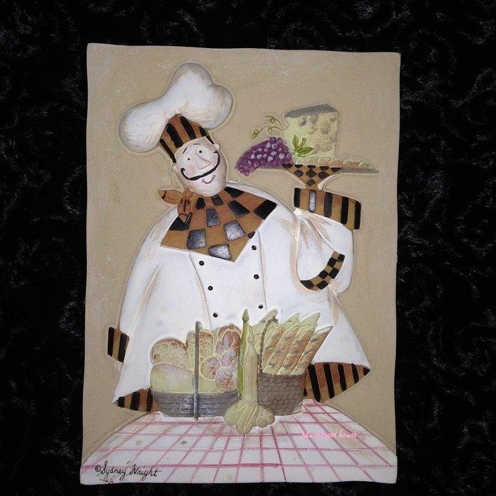 點點蘑菇屋{璧飾}美國 new view起司麵包與廚師壁掛畫 立體浮雕 掛飾 壁磚