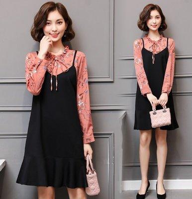 GOGO SHOP☆╭韓版新款 清新風碎花假兩件洋裝 荷葉下擺連身裙【Y1625】XL~5XL大碼水水女裝