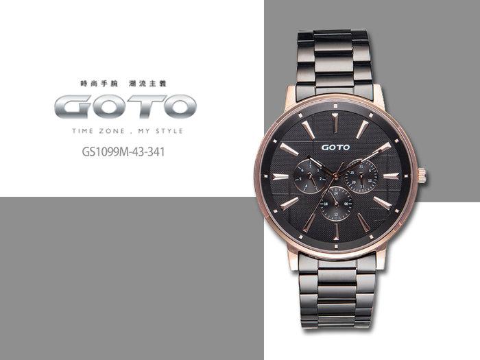【時間道】GOTO 懷舊十字窗花系列三眼腕錶/黑面玫瑰金殼黑鋼帶-48mm( GS1099M-43-341)免運費