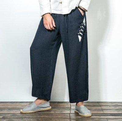 FINDSENSE Z1 日系 流行 男 時尚 寬鬆 舒適 亞麻 側邊個性扣裝飾 休閒長褲
