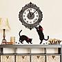 【燕子小舖-時尚壁貼.璧貼】CD1-0880『紅緞帶黑貓復古掛鐘壁貼』售價150元