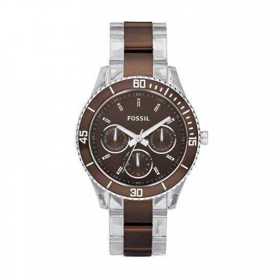 現貨【FOSSIL- ES2801】100%全新正品 時尚中性 輕量化錶帶 三眼錶 名錶.手錶 / 咖啡色【防水50M】