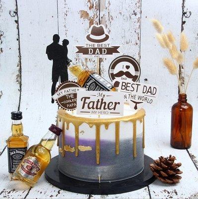 橙子的店 生日蛋糕裝飾父親節快樂插牌 黑色系 爸爸禮節禮帽生日裝飾插件!三件起購 !