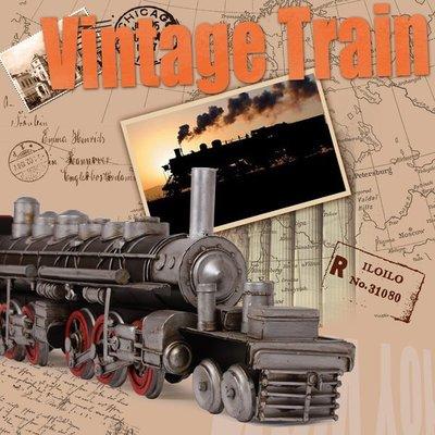 特大號蒸汽複古創意擺件手工鐵皮火車頭實用禮物鐵藝家居裝飾品*Vesta 維斯塔*