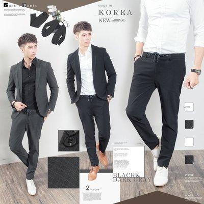 。SW。【K31181】免運  正韓K.V 韓國製 修身 觸感佳 彈性西裝布 窄版 雅痞紳士 小格紋 成套西裝英倫 GD