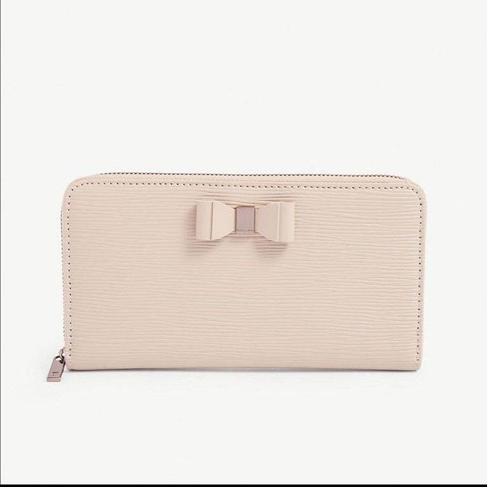 英國代購 英倫優雅輕奢品牌 Ted Baker 水波紋 牛革 拉鍊 長夾 皮夾 粉米色