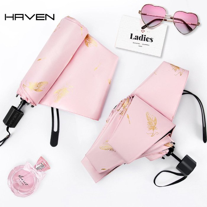雨傘 防曬 防紫外線太陽傘女士超輕防曬遮陽折疊晴雨傘兩用黑膠