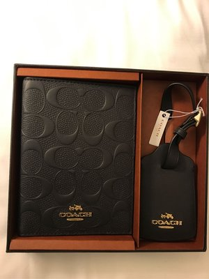 Coach Passport Case with Leather Luggage Tag Travel Box set
