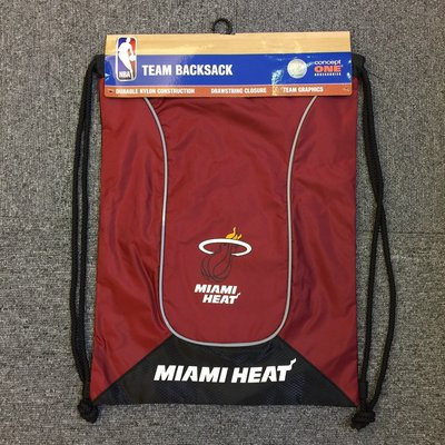 BEETLE NBA MIAMI HEAT 邁阿密 熱火 紅黑 LOGO 運動 健身 防水 束口袋 後背包