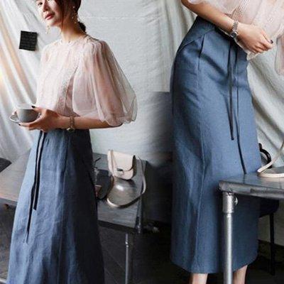 窄裙 摩登霧藍不挑人綁帶窄裙長裙 艾爾莎【TAK8291】
