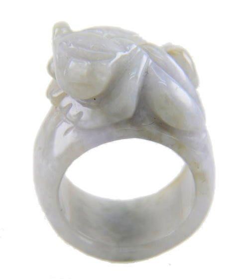 (六四三精品)三OO一元起標早期收藏紫蘿蘭緬甸玉(A貨)翡翠貔貅玉戒...可自取(板橋)