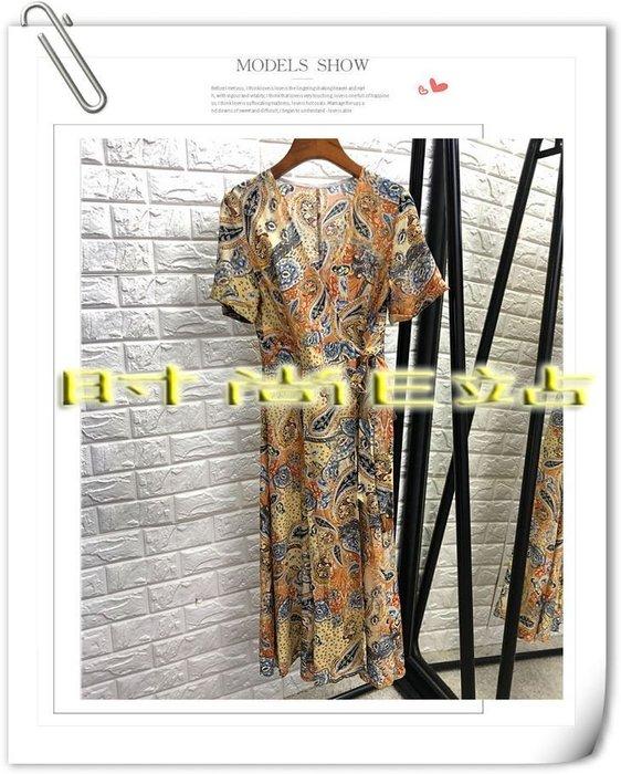 時尚E站【~SSEZ~】7117063053 復古V領真絲印花系帶短袖中長裙