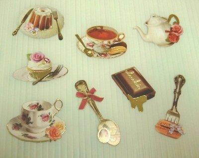 日本 Flake Stickers 下午茶 箔押貼紙(8枚)