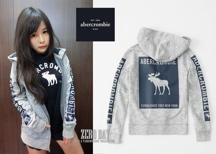 美國a&f真品abercrombie&fitch graphic logo full-zip hoodie麋鹿連帽外套灰