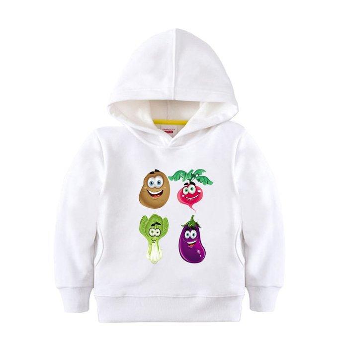 【童裝】韓版茄子土豆加絨厚中大男女童裝加絨百搭衛衣兒童卡通水果蔬菜圖案上衣服