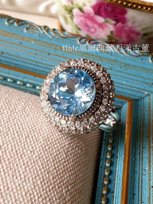 黑爾典藏西洋古董 ~ 純925銀奢華豪華鑲嵌藍色托帕石滿鑽圓高台戒~ 黃玉 TOPAZ珠寶