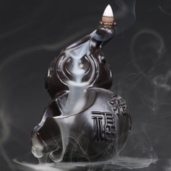 5Cgo【茗道】含稅會員有優惠  520715557066 黑檀倒流香爐創意葫蘆家居佛具紅木擺件檀香沈香香薰爐