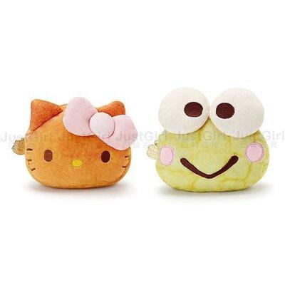 HELLO KITTY 大眼蛙 三麗鷗 化妝包 收納包 萬用包 麵包 歡樂烘焙坊 配件 正版日本進口 JustGirl