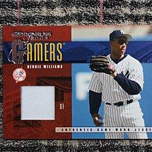 Bernie Williams 2003 Dnoruss 洋基隊傳奇球星 雙色條紋實戰球衣卡 no簽名