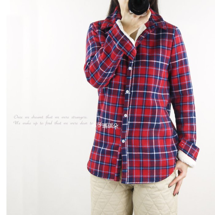 正韓 韓國空運 配色格紋厚絨毛襯衫外套 ~桔子瑪琪朵