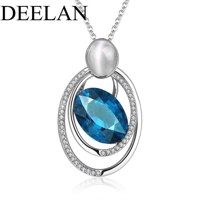 百搭DEELAN歐美時尚仿珍珠項鏈女性圓形鏤空吊墜飾品首飾優品小舖