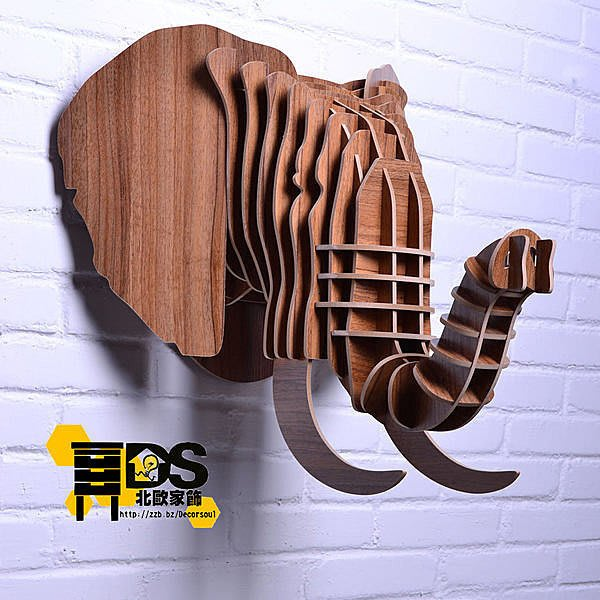 DS北歐家飾§ 復古仿舊LOFT設計復刻 胡桃木 大象頭壁掛 牆壁裝飾簡約壁飾掛件鄉村風格裝潢設計創意歐式文創組合文青