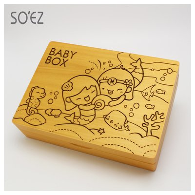SOEZ BABY BOX 星座02:雙魚座 3用胎毛.臍帶.乳牙保存盒~台灣製~實木雷射雕刻