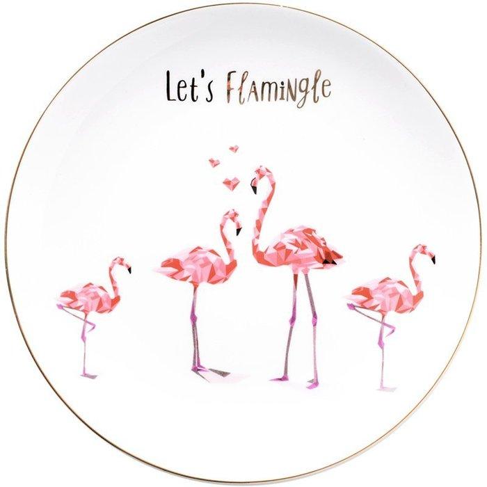 【凱洛詩家飾】北歐風描金紅鶴陶瓷圓盤 火烈鳥盤子 西餐盤甜點盤