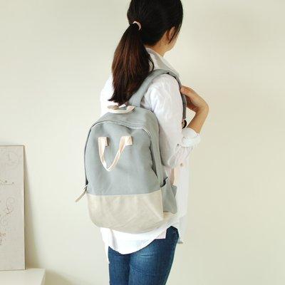 【里樂@ LeaThER】日系清新感素面帆布後背包 書包雙肩包 大學生最愛 666
