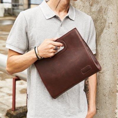 【可樂生活】新品男士復古手提包潮流男女士手拿包時尚商務文件iPad包辦公包-免運費