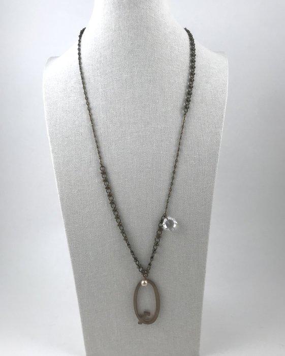 [我是寶琪]古銅水鑽珍珠項鍊