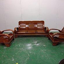 二手家具全省估價(大台北冠均 新五店)二手貨中心--通風耐用實木椅1+1+3木沙發組 木椅組 SO-9120697