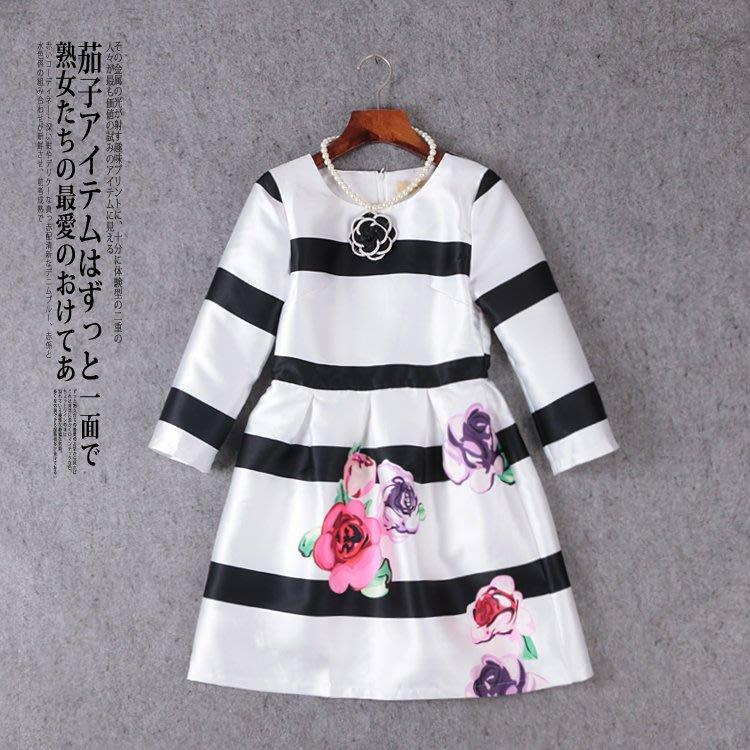 小香風 CHANEL 經典黑白條紋綢緞面料名媛氣質洋裝 連衣裙 女装 (附山茶花珍珠項鍊)