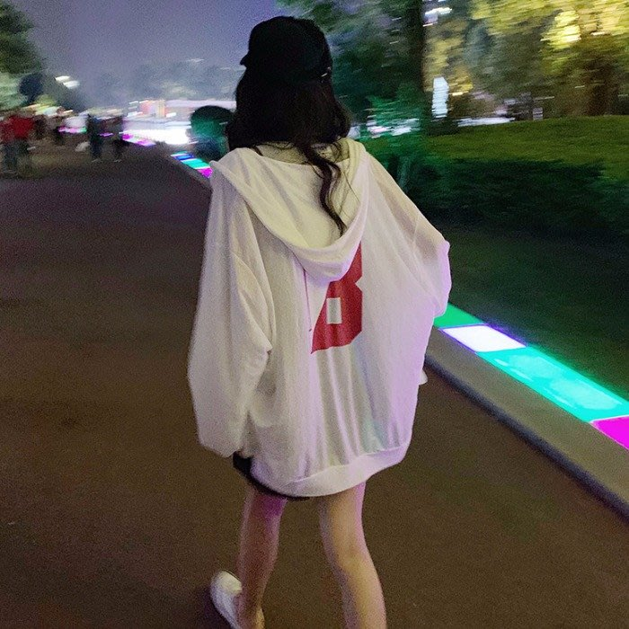 小香風 短袖T恤 時尚穿搭 韓版 薄款寬松字母長袖防曬衣外套女流行學生洋氣上衣