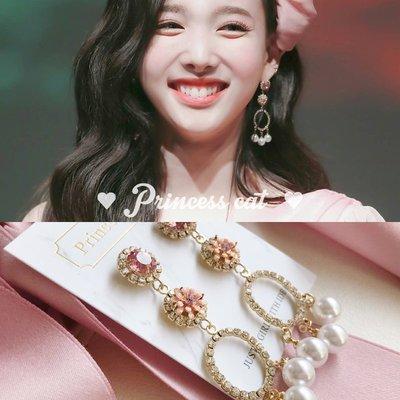 韓國Baby~Princess Cat 甜蜜少女 twice娜璉同款粉鉆+肉粉色立體花s925耳環