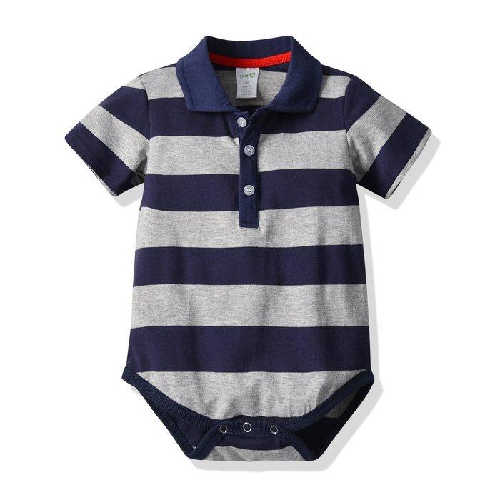 嬰兒 短袖條紋哈衣夏季新生兒爬服童服 嬰兒 連體衣