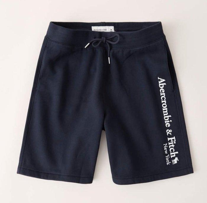 AF Abercrombie&Fitch 麋鹿 棉褲 短褲 運動褲 現貨 深藍色
